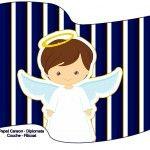Bandeirinha Sanduiche Batizado Menino Azul Marinho e Branco