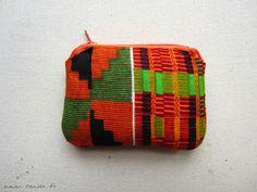 Trousse tissu wax motif africain orange (envoi 0€) : Trousses par cewax