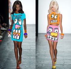 Jeremy Scott 2016 Spring Summer Womens Runway Catwalk Looks - New York Fashion Week - Cartoon Pop Art Culture Dress Bangles Crop Top Midriff Miniskirt Frock Laser Gun Polka Dots Mesh Fishnet Stockings Boots Galoshes 1960s Sixties Mod Scribble Coat Shorts Tuxedo Jacket Metallic Satin Insects Spiders Bralette Swimwear Bikini Knot Bow Tie Flowers Floral Sheer Chiffon Tulle Sequins Paillettes Check Knit Cardigan Halter