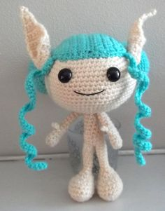 Turquoise Elf Girl doll by Greenpixey Amigurumis on folksy