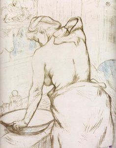 'Woman at Her Toilette, Washing Herself' - by Henri de Toulouse-Lautrec, 1896