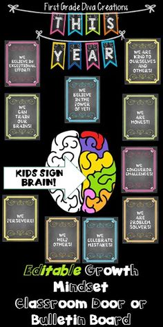 This printable growth mindset display is perfect for your classroom door or a bulletin board. The posters double as a teaching tool, and students interact with the display as they sign the brain poster as a commitment to believe in their potential and the possibilities of a new fresh year. Fabulous!