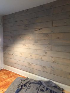 Miss Mustard Seed's Milk Paint in Trophy parts water 1 part milk paint) Love the Wash Look! Stained Shiplap, Porch Wall, Front Porch, Painting Shiplap, Plank Walls, Basement Walls, Ship Lap Walls, Milk Paint, Basement Remodeling
