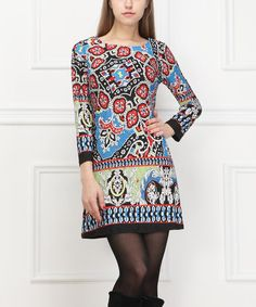 This Red & Blue Abstract Floral Dress - Women is perfect! #zulilyfinds