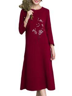 Sale 23% (36.49$) - Vintage Printing O-Neck Long Sleeve Loose Cotton Women Dress