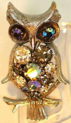 Vintage Brooch Owl Big Chunky Pronged 14 AB by BagsnBling on Etsy, $14.50