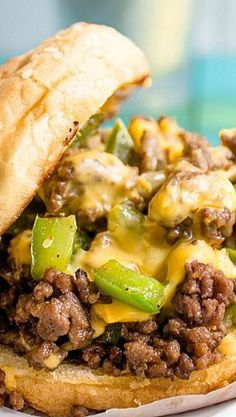 Philly Style Sloppy Joes- no bun or cornstarch and this is Bariatric approved!- this was good, a nice twist on sloppy joes I Love Food, Good Food, Yummy Food, Beef Dishes, Food Dishes, Carne Picada, Philly Style, Bariatric Recipes, Ground Beef Recipes