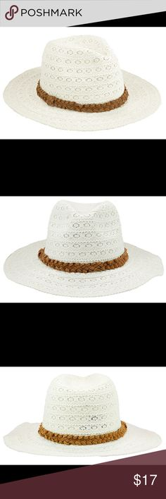 Lady's lace panama hat with suede band Lace fabric panama hat. 3 inch brim. One size fits most women. (head circumference is about 57cm) The Hatter Company Accessories Hats