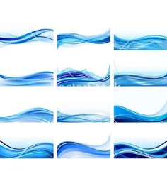 Abstract wave set vector on VectorStock®