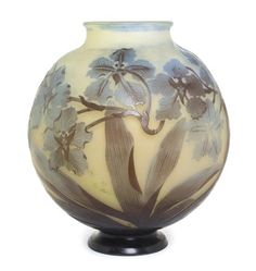 A Galle Cameo Glass Vase, of spherical footed form, decorated with flowering leafy vines, signed Galle in cameo. Height 11 3/4 inches. Estimate $ 3,000-5,000, Sold for: $3,000