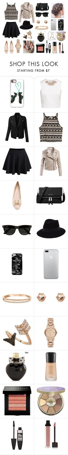 """""""Stylish Star"""" by juliebunny ❤ liked on Polyvore featuring Casetify, Ted Baker, LE3NO, H&M, WithChic, Sans Souci, Salvatore Ferragamo, MICHAEL Michael Kors, Ray-Ban and Maison Michel"""