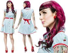 Sourpuss Gingham with Cherries dress