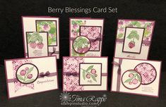 This beautiful set of 6 cards is made using the Berry Blessings stamp set and the coordinating Berry Delightful Designer Series Paper. 21 Cards, Project 4, Stamping Up, Flower Cards, Paper Design, Thank You Cards, Card Stock, Birthday Cards, Berries