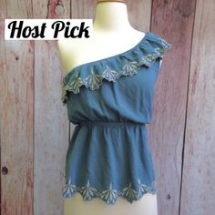 """SALE  HP  mine // blue one shouldered top This top is gorgeous! One shoulder (right shoulder) with embroidered scalloped detail and elastic waistband. Size Small, approx 16"""" underarm to underarm and 9"""" long from waistband. Size small, but fits a little snug. Would probably fit an XS best (see measurements above). Excellent condition.   HOST PICK: WARDROBE  STAPLES (9/28/15)   ⭐️ No Trades. ⭐️ Tops"""