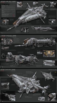 Spaceships Galore! — Butcher Class Heavy Gunship by KaranaK.deviantar…...