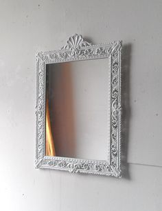 Large White Mirror 21 by 15 Inch Vintage by SecretWindowMirrors