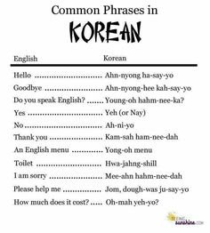 Korean Language More Learn common phrases in Korean such as hello, goodbye, thank you, please, and more. Great to keep for your trip or move to South Korea. Korean Words Learning, Korean Language Learning, Learning Korean For Beginners, South Korean Language, Language Study, Learn A New Language, The Words, Korean English, Learn Hangul