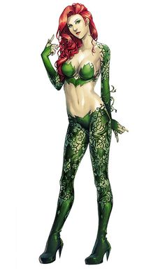 [Image: A full color illustration of DC comics character Poison Ivy in a full body shot. She standing and wearing a green outfit that appears to made of an intricate pattern of leaves and vines.] Gotham City Sirens: Poison Ivy by ace-ix