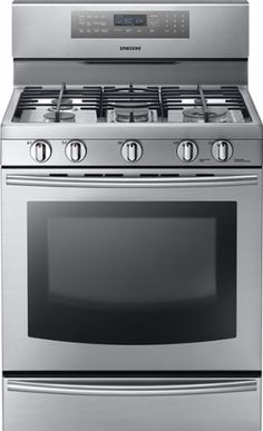 "Samsung - 30"" Self-Cleaning Freestanding Gas Convection Range - Stainless Steel - Front Zoom"