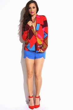 #1015store.com #fashion #style bold red/mocha abstract printed blazer jacket-$15.00