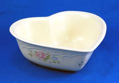 Pfaltzgraff TEA ROSE Heart Shaped Bowl 8.25 in. Pink Blue Flowers Stoneware. As always your entire order ships for only $4.99, only at http://www.totallytableware.com/