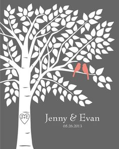Coral and Gray Wedding Guest Book Tree Personalized Wedding Print  16x20150 by karimachal, $32.00
