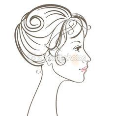 Beauty women face by prezent - Stock Vector