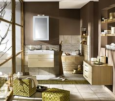 Brown bathroom -- add green and light blue