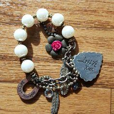 Betsey Johnson charm bracelet Cute bronze, gold, and pearl bracelet Betsey Johnson Jewelry Bracelets
