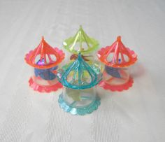 Twinkler Ornaments Set of 4 1950s Vintage / Retro Spinner Carousel Hard Plastic Holiday Decorations