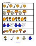 Fall number and math activity pages for preschool, pre-K and Kindergarten children