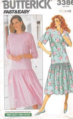 BUTTERICK 3386 - FROM 1989 - UNCUT - MISSES PETITE DRESS