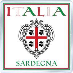 Acrylic Fridge Magnet: Italy. Coat of Arms of Sardinia (Sardegna)