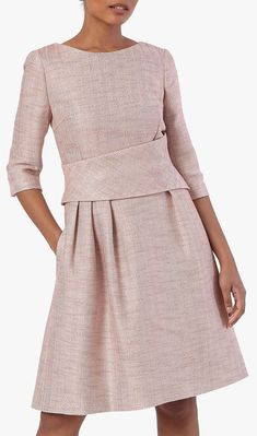 A Fold icon, the Camelot dress is lauded for its figure-enhancing shape and flattering wrapped waistline. Made from supremely soft blush pink Italian tweed, this fit-and-flare dress is finished with handy in-seam pockets and a modern exposed back zip. It's perfect for Autumn and Winter weddings, or special occasions. What to wear for an Autumn Wedding. What to wear for a Winter Wedding. Winter Wedding outfit ideas. #fashion #tweed #fashionista Winter Wedding Outfits, Winter Wedding Guests, Winter Fashion Outfits, Winter Weddings, Autumn Wedding, Bright Blue Dresses, Mother Of The Bride Hats, Dress Shapes, Tweed Dress