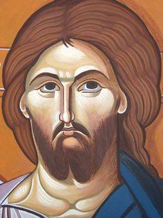 (detail) Jesus Christ Enthroned, Byzantine Greek Macedonian School of Emmanouil Panselinos, original mural painting in Mount Athos, Greece