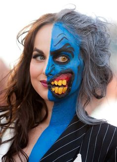 Batman Cosplay: Two Face  Her makeup is pretty cool  @Katherine Denton