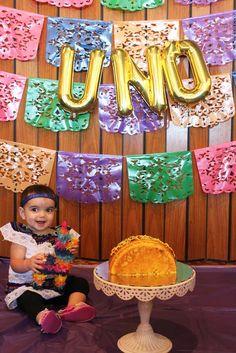 Taco Cake Smash - First Birthday Fiesta for my Cinco de Mayo baby!!!  Cake by Joani Groce, Photo by Melody Sullivan  #smashcake #firstbirthday #birthdayfiesta #tacocake #cincodemayobaby #uno