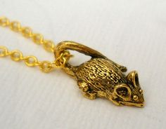 Teeny Tiny Gold Mouse Charm Necklace by lucindascharms on Etsy, $10.00