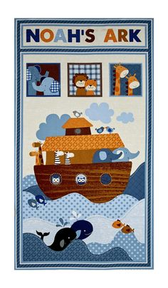 """Noah's Story 23.5"""" Noah's Ark Panel Cream Blue from @fabricdotcom  Designed by Swizzle Stick Studio for StudioE, this cotton print panel features all of Noah's animals on board his ship and peeping out the windows. It measures approximately 44"""" x 23.5"""" and is perfect for quilting, apparel and home decor accents. Colors include cream, taupe, white, black, grey, light grey, orange, burnt orange and shades of blue and brown."""