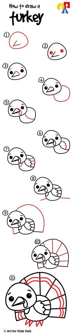 How to draw a cartoon turkey!