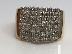 10K YELLOW GOLD 1.00CT GENUINE DIAMOND CLUSTER RING #Cluster