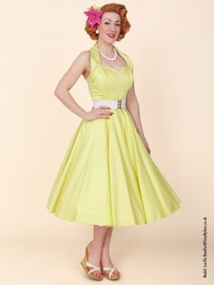 1950s Halterneck Lemon Sateen Dress from Vivien of Holloway