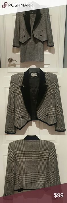 2pc Vintage Louis Feraud Houndstooth Skirt Suit 2pc Vintage Louis Feraud Houndstooth High Waisted Skirt Suit with Velvet Lapel. Small cm hole on skirt. Skirt says 4 but feels like 2/4 Louis Feraud Skirts Skirt Sets