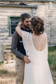 Plus Size Wedding Dresses Sleeves Lace Country A Line Scoop Long Backless Romantic Bohemian Wedding Dress