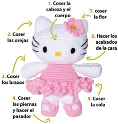 Hello kitty ballet dancer. This pattern is in Spanish, but hopefully I can use google translator to get it in English.  #crochet #free_pattern #pattern #amigurumi #hellokitty #hello_kitty #cat #tutorial