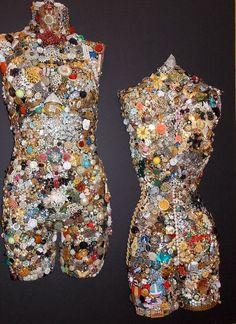 Vintage Jewel Encrusted Mannequin Back image 2 Vintage Jewelry Crafts, Old Jewelry, Jewelry Art, Jewelry Ideas, Jewelry Making, Mannequin Art, Dress Form Mannequin, Button Art, Button Crafts
