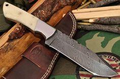 CFK USA Custom Handmade Twist Damascus Camel Bone Large Hunter Skinner EDC Knife