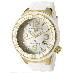 Swiss Legend Men's 21848P-YG-02-MOP Neptune White Mother-Of-Pearl Dial White Silicone Watch * Be sure to check out this awesome product.