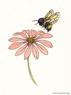 Jessica M. watercolor and ink Honey Bee Tattoo, Bumble Bee Tattoo, Bee And Flower Tattoo, Bee On Flower, Bee Sketch, Bee Painting, Cute Bee, Bee Art, Cute Drawings