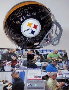 Chuck Noll / Terry Bradshaw / Franco Harris / Lynn Swann / Mel Blount / Jack Ham / Jack Lambert / Joe Greene - Autographed Official Full Size Riddell Authentic Proline Football Helmet - Pittsburgh Steelers Throwback - PSA/DNA